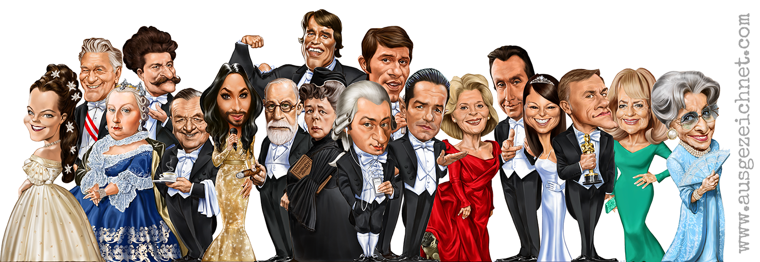 austrian celebrities I AM FROM AUSTRIA_caricature_karikatur