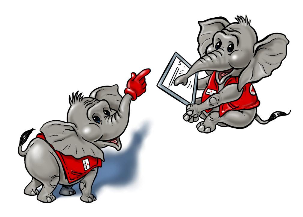 Elefanten cartoon rotes kreuz