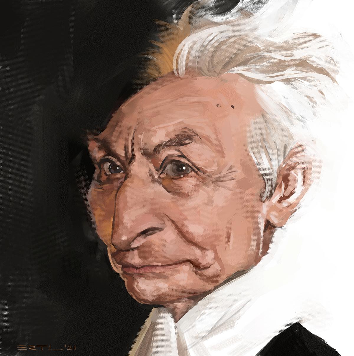 Charlie Watts caricature portrait Bernd Ertl